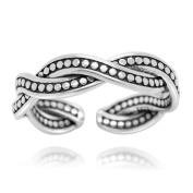 Oxidised Sterling Silver Open Vintage Twist Ring Band, Size 6 - Adjustable
