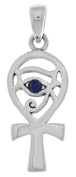 Jewellery Trends Sterling Silver Eye of Horus Ankh Pendant with Synthetic Lapis