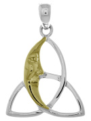 Jewellery Trends Sterling Silver Celtic Trinity Knot Pendant with 14k Gold-Plated Moon