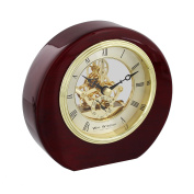 Wm.Widdop Round Piano Wood Mantel Clock Skeleton Dial Roman