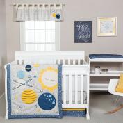 Trend Lab Galaxy 3 Piece Crib Bedding Set, Blue/Grey/Yellow