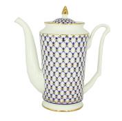 Lomonosov Bone China Porcelain Coffee Pot Julia Cobalt Net 23.3 fl.oz/690 ml