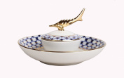 Lomonosov Russia Imperial Porcelain Caviar Dish Cobalt Net