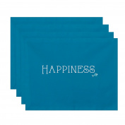E by design PT4WN514BL27 46cm x 36cm , Coastal Happiness, Word Print Placemat, Turquoise