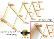 ALAZCO Accordion Style Wood Expandable Wall Rack 13 Hooks (Pegs) For Hat, Cap, Belt, Umbrella Coffee Mug Jewellery Hanging - 5.1cm Long wooden Pegs