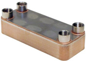 Duda Energy HX3220:M1 B3-32A 20 Plate Stainless Steel Heat Exchanger with 2.5cm Male NPT Ports Copper Brazed, 5.6cm Height, 11cm Width, 29cm Length