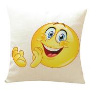 DKmagic Cute Emoji Expression Printing Pillow Case Sofa Bed Home Decor Cushion Cover