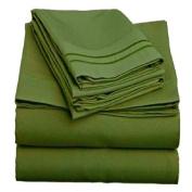 Two Line Embroidery 90GSM Microfiber Sheet Set King - Dark Green