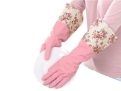 Long Sleeve Pink Flower Wide Mouth Plus Velvet Latex Rubber Gloves Antiskid Household Laundry Waterproof Dishwashing Gloves Housework Cleaning Gloves Protect Your Hands for Home and Kitchen