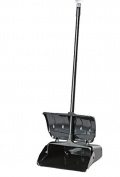 Janico 1088 Bristles Hooded Dustpan, Hood Closes Automatically, Swing Hopper, Aluminium Handle, Black