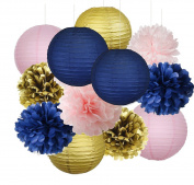 12pcs Mixed Navy Blue Pink Gold Party Tissue Pom Poms Hanging Paper Lantern Ball Nautical Themed Wedding Birthday Girl Baby Shower Nursery Decoration