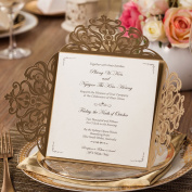 Wishmade 50pcs Gold Laser Cut Wedding Invitations Cards Kit With Hollow Flora Square Lace Card For Marriage Engagement Baby Shower Birthday Party Supplies and Envelopes Seals (Set of 50pcs) CW519_GO