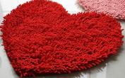 Siniao 5060cm Heart-shaped Soft Shaggy Non Slip Absorbent Bath Mat Bathroom Shower Rugs Carpet