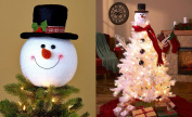 Frosty Snowman Top Hat Christmas Tree Topper Decor Holiday Winter Wonderland Decoration by KNL Store