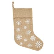 Natural Burlap Rustic Snowflake Christmas Stocking, 28cm x 38cm , Holiday Decoration