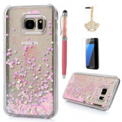 S7 Case,Samsung Galaxy S7 Case - Flowing Liquid Floating Bling Glitter Sparkle Pink Love Hearts Hard PC Cover Cute Creative Design with Stylus Pen Dust Plug HD Screen Protector by Badalink