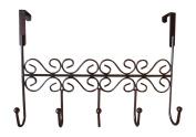 obmwang Over the Door 5 Hook Rack - Decorative Organiser Hooks for Clothes, Coat, Hat, Belt, Towels - . Over Door Hanger for Home or Office Use