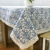ColorBird Vintage Navy Damask Pattern Decorative Macrame Lace Tablecloth Heavy Weight Cotton Linen Fabric Decorative Table Top Cover