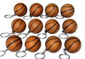 Novel Merk 12 Pack Brown Basketball Keychains for Kids Party Favours & School Carnival Prizes