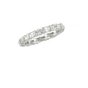 1.95CTW BAGUETTE & ROUND DIAMOND ETERNITY BAND 18K White Gold -IDJ008917