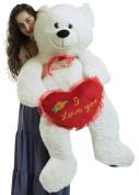 Giant White Teddy Bear 130cm Soft Big Plush Bear Holds I Love You Heart Pillow