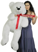 Personalised Giant White Teddy Bear 130cm Soft Big Plush Animal, Your Message Customised on Red Satin Neck Ribbon Bow