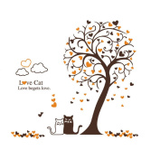 Winhappyhome Love Cats Tree Wall Art Stickers for Bedroom Living Room Coffee Shop Glass Window Backdrop Removable Decor Decals