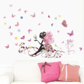 Amiley Wall Stickers &#65292 .   Butterfly Flower Fairy stickers Bedroom Living Room Walls