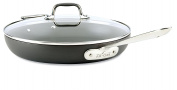 All-Clad E7859664 HA1 Hard Anodized Nonstick Dishwasher Safe PFOA Free Fry Pan with lid Cookware, 30cm , Medium Grey