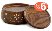 Drink Coasters 2016 YEAR END  .   - SouvNear Coaster Set & Holder - Handmade Wood 6 Round Table Coasters and Wooden Holder - Table Top Accessories