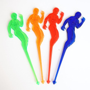 15cm Plastic Muscle Man Cocktail Party Drink Stirrers (8 Count) - Assorted Neon
