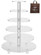 Jusalpha Large 6-Tier Acrylic Round Wedding Cake Stand/ Cupcake Stand Tower/ Dessert Stand/ Pastry Serving Platter/ Food Display Stand