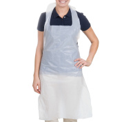120cm x 70cm Disposable Heavy Weight White Poly Apron - 1.5 Mil