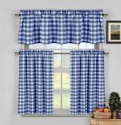 Navy Blue White Kitchen Curtains