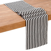 Ling's moment Durable Black and White Striped Table Runner 30cm x 180cm 1.8m 100% Linen Hemp Wedding Reception Top Decoration For Bridal Baby Shower Wedding Birthday Party