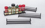 Set of 4 Black Wall-Mount Spice Rack Organisers - Hang on Pantry and Kitchen Cabinet/Cupboard Door - Closet Organisers - Hanging Hardware Included