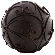 Patina Bronze Metal Decorative Sphere with Mirrored Swirl Design