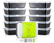 Chef's Star 1 Compartment Reusable Food Storage Containers with Lids - 980ml - BPA Free - Microwave Safe - Dishwasher Safe - Stackable - 10 Pack
