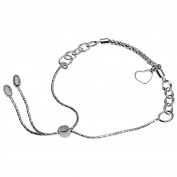 Italian Sterling Silver AdJustable Heart Bracelets with Adjustable Length up to 23cm