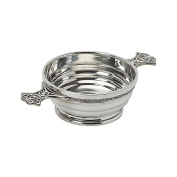 Edwin Blyde & Co Quaich Ribbed Body For Unique Look with Ornate Celtic Wire and Celtic Handles, 10cm , Pewter