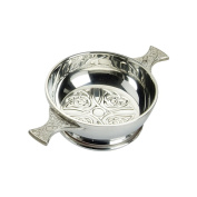 Edwin Blyde & Co Quaich with Embossed Celtic Design Inside and Celtic Handles, 10cm , Pewter