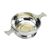 Edwin Blyde & Co Quaich with BRASS CELTIC Design and Celtic Handles, 10cm , Pewter