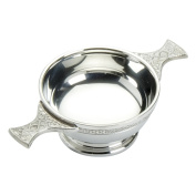 Edwin Blyde & Co Quaich with Ornate Celtic Wire and Celtic Handles, 7.6cm , Pewter