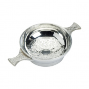 Edwin Blyde & Co Quaich with Classic Celtic Design Inside and Celtic Handles, 10cm , Pewter