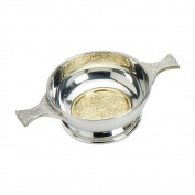 Edwin Blyde & Co Quaich with BRASS CELTIC Cross Design and Celtic Handles, 10cm , Pewter