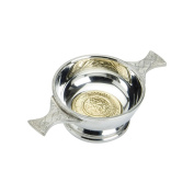Edwin Blyde & Co Quaich with BRASS CELTIC Design and Celtic Handles, 5.1cm , Pewter