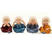 Caxmtu 1Pc Lovely Small Kungfu Monks Maitreya Buddha Resin Handicrafts for Car Home Desk Decor