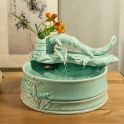 PRIDE S Creative Bamboo Ceramic Water Decoration Feng Shui Fountain Fish Tank Humidifier Small Crafts
