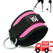 Pink Training Exercise Ankle Strap D-ring Pulley Gym Weight Lifting Multi Cable Attachment Strap