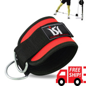 Red Ankle Twin D-Ring Strap Gym Cable Attachment Leg Pulley Weight Lifting Single Strap